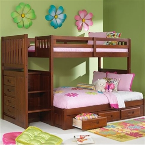 """This Merlot Staircase Twin over Full Bunk Bed with 3 Storage Drawers would be a great addition to your home. Also, it features built in four drawer chest and magazine rack. Complete slat kit makes bed mattress ready; Bed will support up to 400 lbs of distributed weight; Bed accommodates 8"""" Mattress; For bed no foundation required; Optional trundle available or three drawer under bed unit (chose one or the other); Three 16"""" deep drawer; Used with all bunk bed; General conformity certificate."""