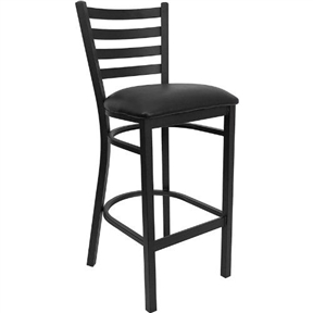 This Black Metal Ladder-Back Restaurant Style Bar Stool is ideal for Restaurants, Hotels, Bars, Pool Halls, Lounges, and in the Home. The lightweight design of the stool makes it easy to move around. The tubular foot rest not only supports your feet, but acts as an additional reinforcement that helps secure the legs. This stool will keep you comfortable with the easy to clean vinyl upholstered seat. You will not regret the purchase of this bar stool that is sure to complement any environment to fill the void in your decor. Seat Size is 16.75''W x 16.5''D and Back Size is 15''W x 12''H and the Seat Height is 31''H.