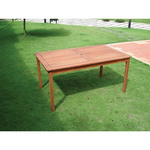 Rectangle 59 x 31.5-inch Solid Wood Patio Dining Table with Center Umbrella Hole, BRDTV15896851 :  Enjoy meals in the outdoor by placing this Rectangle 59 x 31.5-inch Solid Wood Patio Dining Table with Center Umbrella Hole in your garden. This rectangle-shaped dining table is an excellent addition to your backyard. It includes a hole in the middle for installing an umbrella. Made using eucalyptus wood, this dining table is sturdy and long-lasting. You can enjoy a happy meal with your friends and family using this table. It is a great place for the members of the family to interact and spend some quality time with each other. It is ideally designed for four people. This dining table can withstand adverse weather conditions and is perfect for outdoor use. It is resistant to all damages caused by mold, mildew, fungi, or termites. This Rectangle 59 x 31.5-inch Solid Wood Patio Dining Table with Center Umbrella Hole is FSC certified, which ensures that the materials were sourced from sustainable forests and that no woodworkers were exploited in the making of it. This dining table is eco-friendly and has minimal impact on the environment. You can wipe it with a clean, dry cloth to maintain its original look.