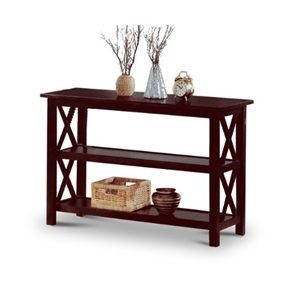 Cappuccino Wood Sofa Table Bookshelf, COSTC11161 : This Cappuccino Wood Sofa Table Bookshelf would be a great addition to your home. It has brown wood and storage display shelves.