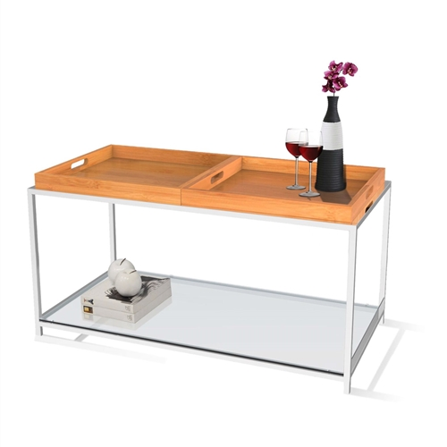 This Contemporary Metal Coffee Table with 2 Removable Tray in Bamboo combines urban design and multi-function use. the palm beach coffee table features two removable white trays that can be reversed to use as a flat surface or as serving trays clear tempered glass table top allows use of coffee table with or without trays. Will provide years of enjoyment; Tray is not intended for direct contact with food.