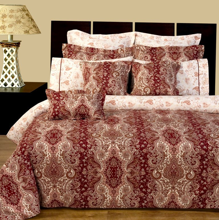 """Hampton Reversible Multi-Piece Bedding Set. Experience the luxurious soft 100% Egyptian cotton Hampton Bedding made with 400 Thread count per squire inch. Luxury and Fashion were combined in this 11 pieces Two-Look bedding set. The soft touch and ware of Egyptian cotton fabric was printed with updated flowery / contemporary type of look.   This is a Two-Look kind of Set, the front has one print and the back has another print. The duvet cover and all Shams are made with two prints. Making or changing the look of you bed room would take no more than few second, just turn the duvet cover and pillow shams up side down and you have totally new look for your bed. This Luxury bed in a bag ensemble includes: One duvet cover reversible, two pillow shams reversible, two Euro shams reversible, one Fitted sheet with 16"""" pockets, two pillow cases, two decorative pillows shams 16x16"""", one decorative breakfast shams 10x16"""""""