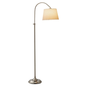 Elegant Arch Floor Lamp with White Linen Tapered Drum Shade,  ETFL94173 :  This Elegant Arch Floor Lamp with White Linen Tapered Drum Shade is perfect for any living space in your home. With its telescoping body you can easily adjust it to the desired height you like. The shade can be adjusted to a 45-Degree angle. It comes in a smooth satin steel finish with a decorative accent ball that locks in the height. It has a three-way rotary socket switch.