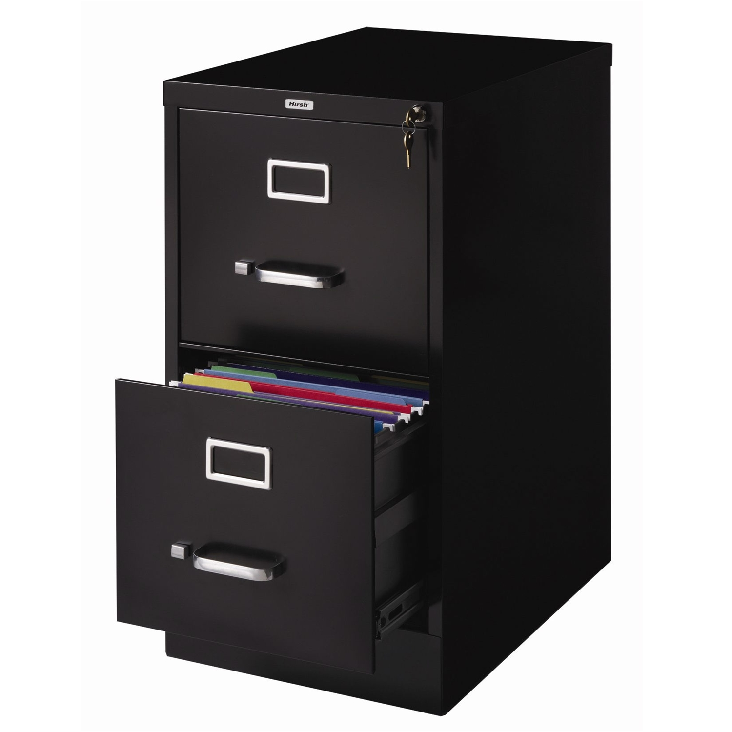 This 2-Drawer Vertical Filing File Cabinet with Lock in Black Metal would be a great addition to your home. It is made of commercial grade steel and has a core removable lock. Core removable lock; Letter Size; Includes Wire Follower; Meets or Exceeds ANSI/BIFMA Industry Standards.