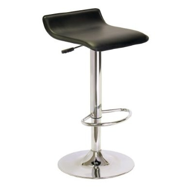 This Contemporary ABS Air-Lift Swivel Bar Stool in Black Faux Leather will be a stylish addition to modern decors, Winsome's Spectrum ABS Airlift swivel stool combines sleek minimalist design with comfortable, space-efficient seating. The unique contoured square seat is covered in black faux-leather upholstery and gently curves to accommodate both ergonomic upper leg positioning and lower back support. The seat also swivels side to side and adjusts in height from 24 to 30 inches for a flexible, user-friendly fit at counter or bar heights. Completing the look, the base's single round post and open loop footrest offer a clean yet interesting silhouette.