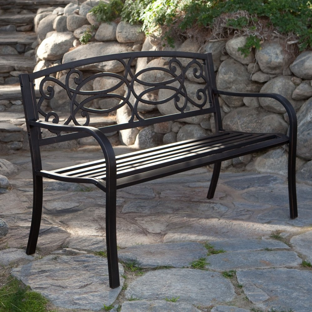 4-Ft Metal Garden Bench in Antique Black Finish, CS4FGB11298 :  With an elegant styling that will look fabulous in any setting, this 4-Ft Metal Garden Bench in Antique Black Finish can provide a comfortable seat for two or three people. Place this beauty in your well-tended garden and take time to smell the flowers. It's made from strong tubular steel that will beautifully withstand the elements for years to come and features a comfortable contoured seat as well as flowing scroll design and bronze highlights for an antique look. Comfortable, ergonomically designed armrests; 4 ft. curved bench easily accommodates 2 to 3 people.