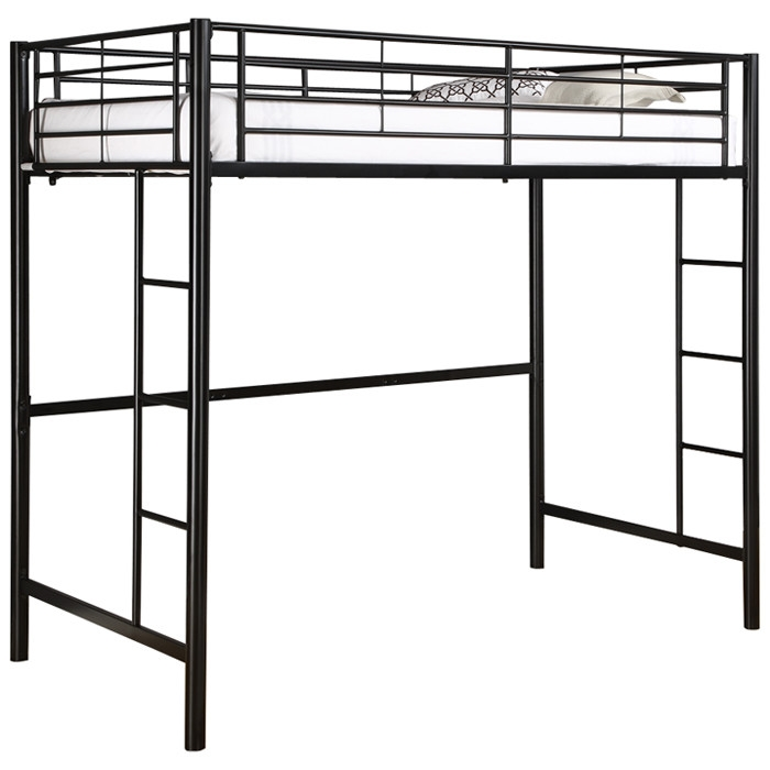 Expand the space in the bedroom with this loft-bunk bed. This Tubular Steel Twin Size Loft Bunk Bed in Black hoists a standard twin-sized mattress 55 inches above the floor, leaving room for a second twin bed, a desk, or a dresser. Fun for kids and adults alike, the bed frame's simple design suits most bedroom décor. A sleek black-powder coat finish endows the sturdy steel bed frame. With a maximum weight capacity of 250 pounds, the bed employs 22 tubular slats to support the mattress. Integrated ladders on both ends of the frame allow one to climb up, while 15-inch high guardrails provide a buffer on all sides to keep the occupant from falling out of bed. To guarantee adequate guardrail protection, Walker Edison advises using a mattress with a 9-inch thickness or less. The bed frame has been tested to ensure that it meets the latest safety standards, and two L brackets come with the frame for bolting the bed to a wall. If adding a second bed to create a bunk bed, use a bed frame without a headboard or footboard or place the second twin mattress and box spring directly on the floor to fit below the elevated mattress. The second bed might also be placed perpendicular to the upper bed for a better fit. For comfort, the user may opt to add padding to the ladder rungs. The bed frame necessitates home assembly and comes with necessary hardware, tools, and instructions. Mattress and bedding are not included with the loft bed.