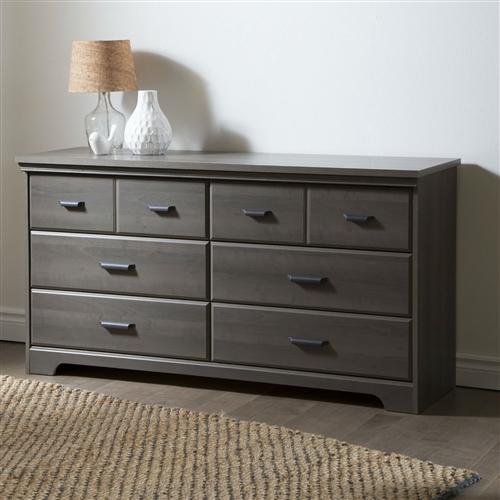 "You will love this traditional-style dresser for its many storage spaces. The top drawers are separated by a decorative groove that creates the illusion of double drawers. It is enhanced by a rich finish that creates an air of sophistication in any bedroom. Modern metal handles in a matte black finish. Decorative groove on the top drawer that creates the illusion of double drawers. Dresser perched on legs for a light airy feel. For your children's safety and your own: plastic drawer slides with safety stop and dampers. Drawer dimensions: 26"" (l) x 14,25"" (d) x 4,5"" (h)."