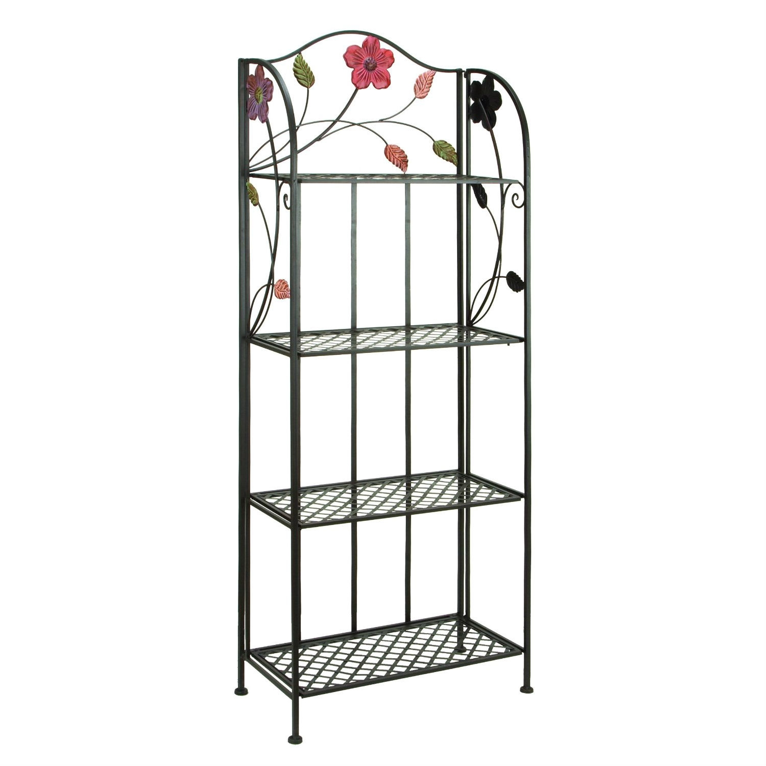 This Indoor Outdoor Metal Bakers Rack Plant Stand with Floral Accents is constructed of metal. Features 4 shelves for the display of planters and decor items. Durable, weather resistant construction. Ideal to enhance the look of any garden. Great functional and decorative addition for any setting. Suitable for both indoor and outdoor use.