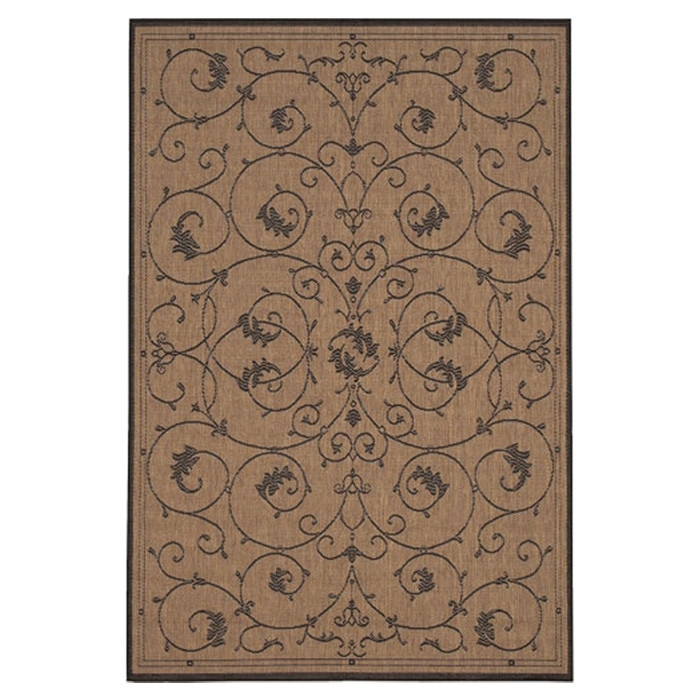 5'3 x 7'6 Indoor Outdoor Area Rug with Black Tan Floral Floret Vines Design, RVOR75931 :  This 5'3 x 7'6 Indoor Outdoor Area Rug with Black Tan Floral Floret Vines Design would be a great addition to your home. It has a cocoa color and is made of synthetic polypropylene. Professional rug cleaning recommended; No bleach; dry cleaning not needed; Rug pad is recommended under all rugs to avoid skidding; Construction: Machine made; Recommended Care: Due to the handmade nature of the rugs, colors and sizes will vary slightly; Primary Pattern: Floral And Plants; Product Care: Vacuum frequently. Have professionally cleaned when needed. Country of Manufacture: Belgium; Product Warranty: 1 year limited warranty.
