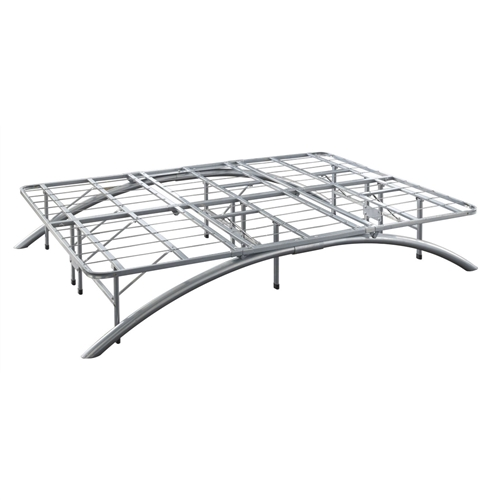 """This Queen size Contemporary Metal Platform Bed Frame with Arched Legs provides sleek styling and complete support while eliminating the need for a box spring, foundation, or metal bed frame. With a modern design and silver finish the bed is manufactured with high standards to ensure maximum quality and consistency with the ability to support 2500lbs. Compact packaging allows for easy transportation while also being extremely easy to assemble. The modern design and 14"""" height profile provides for plenty of underbed storage. The Queen size Contemporary Metal Platform Bed Frame with Arched Legs can support any mattress."""