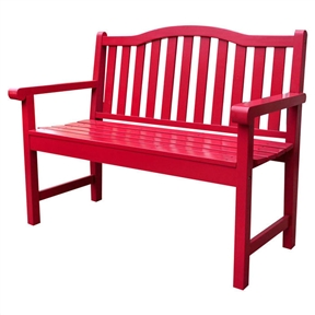 Chili Pepper Red Garden Bench Loveseat with Arms in Cedar Wood, RPBS519881 :  Simple and charming, this Chili Pepper Red Garden Bench Loveseat with Arms in Cedar Wood will add more warmth to your patio or backyard. Match it with your ambience by adding your own accessories. Use of polyurethane paint for protection against weather, heat and sunlight; Rust resistant hardware; Galvanized hardware; Rust Resistant: Yes; Seating Capacity: 2; Assembly Required: Yes; Product Warranty: 1 Year; Style: Traditional; Hand Painted: No; Seat Material: Cedar; Frame Material: Wood;  Solid Wood Construction: Yes. Weight Capacity: 500 Pounds; Commercial Use: Yes; Eco-Friendly: No; Country of Manufacture: China; Tools Needed for Assembly: Power drill (optional) and screwdriver.