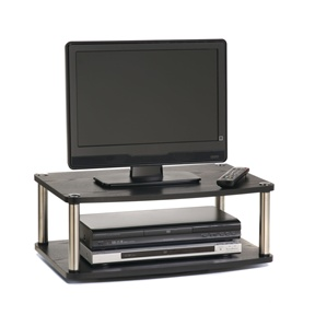 This 2-Tier Swivel TV Stand / TV Turntable Swivel Board has 360 Degree swivel motion and Stainless steel poles that won't rust. Also, it is Perfect for TV sets and monitors with space for DVD or game players.
