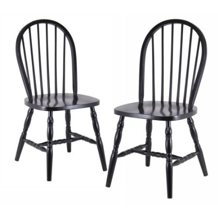 This Set of 2 - Classic Solid Wood Dining Chairs in Black Finish provides comfortable seating in a classic design. Made of beechwood and featuring a stylish black finish. Seat height is 17.75 inches (from floor to seat), seat measures 17.25 inches wide by 15.20 inches deep. Set of 2 - Classic Solid Wood Dining Chairs in Black Finish