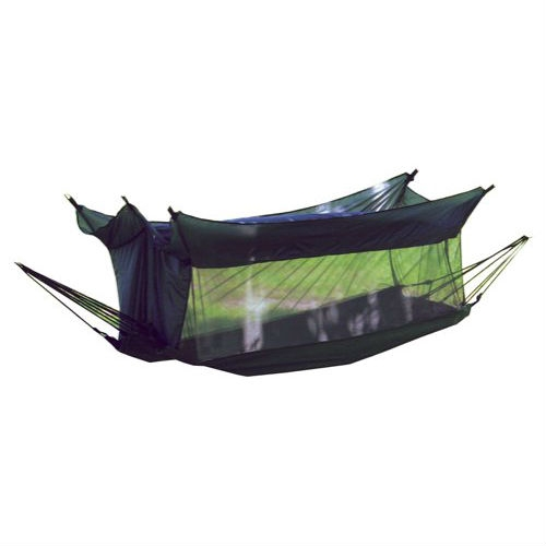 "Cotton Mesh Camping Hammock with Nylon Insect Mosquito Netting, TWHMN3995 :  This Cotton Mesh Camping Hammock with Nylon Insect Mosquito Netting would be a great addition to your home. Texsport offers a wide array of outdoor products, but the company is particularly well-known for its hammocks. Its first model, the Padre Island, was released nearly 25 years ago, and Texsport continues to produce durable, comfortable options for lovers of outdoor relaxation. The Wilderness Hammock is ideal for hunters and campers whose travels take them to mosquito country. A fully-enclosed, ""no-see-um"" cotton mesh shelter is built around the hammock, keeping you protected from pests. The rugged cotton canvas sleep area measures 28-by-18-by-82 inches (W x H x D) and, with a 250-pound weight limit, there's plenty of room for drowsy outdoor enthusiasts of all sizes to stretch out. The top portion is constructed of fire retardant nylon, making it safe to use near your campfire, and its heavy polyurethane coating is nice when the weather turns wet. Steel rings at both ends secure the entire setup via heavy-duty parachute cord. A sturdy zipper closure and strong reinforcements at all stress points ensure years of sturdy service, and the hammock comes complete with a convenient nylon carrying and storage sack."