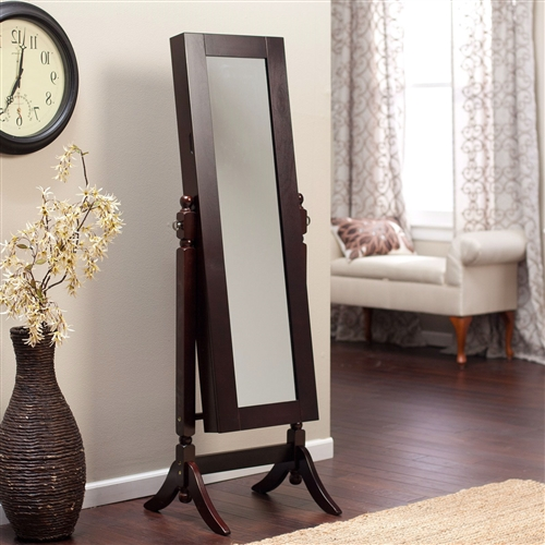 Jewelry Armoire and Full-Length Tilting Mirror in Espresso Brown Wood Finish, HAS519841542 :  Make your jewelry stand up and cheer with this Jewelry Armoire and Full-Length Tilting Mirror in Espresso Brown Wood Finish. The full-tilting mirror lets you get a clear view of your look before leaving the house; no more worrying that your earrings don't match your outfit. The square base and deep espresso color have a contemporary look that meshes well with a modern room. It has a variety of storage options so you can keep your earrings paired in the pockets, store rings on the cushions, and stop necklaces from tangling with the attached hooks. Durable MDF wood construction with birch legs and base; Pocket shelves store bracelets, watches, brooches, and more; Material Birch wood and MDF Style Traditional, Transitional.