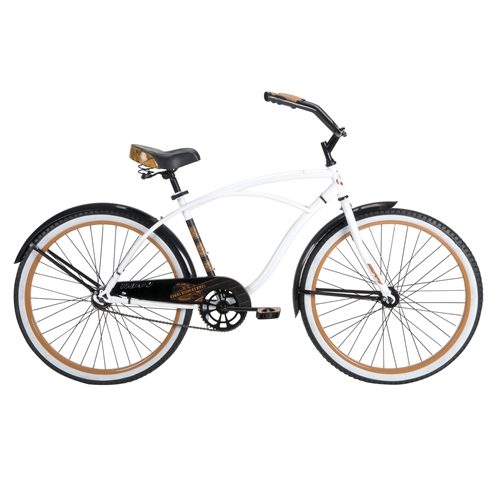 Mens 26-inch Beach Cruiser Bike in White Black and Orange, HBC98415641 :  You feel that? That's cool, healthy, easy, fun. It's the warm sun on your back, a breeze in your hair, and that nostalgic tingle all over as you forget your worries and simply enjoy the ride on this Mens 26-inch Beach Cruiser Bike in White Black and Orange. With its upright riding position and wide, comfortable seat, this smooth-riding cruiser is ready to take you from week to weekend in back again in seriously simple old-school style. Built for relaxed, enjoyable rides, huffy cruisers are the purest expression of fun you can find in an adult bike - no wonder they're America's favorite! Call them beach bikes or retro bikes or whatever you want, cruisers are for folks who just want to ride a bike; to enjoy the outdoors, to connect with family and friends, or just to pick up a gallon of milk. They're real bikes for real people. Easy to ride and maintain, they're at home on a bike path, on the road, on campus, at the beach, and anywhere else that's worth cruising. Since the days of poodle skirts and tail fins, these are the simple pleasures that make you feel like a kid again - and wonder why you ever stopped riding a bike in the first place. With its dreamy lines, vintage styling, and simply perfect gloss crème paint job with floral accents, the good vibrations is a cruiser made for good times; it's easy to stay active and environmentally friendly when you've got such a stunning ride to cruise on. This seriously simple bike was designed with a durable steel frame and fork for lasting lifetime value - you'll love the practicality of the low-maintenance one-speed and coaster-brake drive train, pedaling smooth and sweet across most any surface. The good vibrations' whitewall tires not only lend the bike a retro feel; wider than normal, these tires are less prone to punctures and better absorb shock for an overall more comfortable ride. Wider tires also help to improve stability, rolling over rough terrain with ease and providing greater traction with a greater surface area gripping the ground. Sturdy 38mm steel rims with 12-gauge spokes and 70mm hubs add even greater strength and stability to the wheels, which are both covered by heavy-duty 65mm flared fenders with fitted braces, practical additions that will keep you clean and dry from anything you may be riding through. Bringing more fresh ideas to the places where you'll be touching the bike while on it, the huffy superior touch point package includes a premium embroidered spring saddle with dual density foam padding that looks and feels great, mile after mile - plus, the alloy quick release seat post is easily adjusted for different sized riders without the need for tools. On the swept-back cruiser-style handlebars you'll find custom designed grips made with dual density material for a softer and more comfortable feel for all ten fingers; the large dual density pedals were made with larger platforms and an improved grip surface for extra power transmission that increases pedaling efficiency. The good vibrations' classic cruiser frame is precision crafted with cruzfit geometry for a more natural and tremendously more comfortable ride. Huffy extensively tested a variety of custom designed frame geometries to find the best ride in quality, handling and overall comfort: as it turns out, a small change brings big benefits. Moving the seat post angle back just a bit (by 3 degrees, to be exact) adds room between the saddle and handlebar, increasing the size of the cockpit and supporting a more natural riding position. This simple upgrade to the classic cruiser frame better accommodates riders of all sizes and makes a truly noticeable difference in steering ease, handling and control - not to mention the overall comfort of the ride! The good vibrations cruiser is a step above the rest; in true huffy style, every inch of this bike was designed with you in mind, and the frame comes with a lifetime warranty for peace of mind. This bike is designed to go anywhere you want to take it: just hop on your bike and go, whether you're headed out with friends for a trip down the beach or simply down to the corner store. Recommended for riders over 12 years old. Weight capacity of 200 lbs.