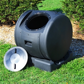 Tumbling Composting Bin Tumbler Composter and Compost Tea Maker,  GICWEB10843:  This Tumbling Composting Bin Tumbler Composter and Compost Tea Maker makes composting easy and fun. Its revolutionary, compact design, saves space and waste. This compost tumbler comes in two pieces. No assembly is required: you'll be ready to compost in less than a minute. The dark plastic absorbs the suns heat, allowing your kitchen scraps, yard waste and other organic matter to quickly break down into fresh compost (hummus). Not only do you get to enjoy fresh earthy compost, you can also harvest the excess compost tea from the batch. As you turn the drum, any excess liquid automatically drains out into the base. You can then drain the stored tea directly onto plant roots. Compost tea is some of the best, most nutrient packed natural fertilizer you can get. With the low profile of this unit, you can rest assured that your composter won't tip over easily in the wind. You can also remove the drum from the base to quickly roll your batch to any desired location around the lawn. You can then use your compost like mulch in your gardens or spread it on your lawn. The moisture and nutrients will gradually seep into the ground. Ask any gardener and they'll tell you that compost and fresh rain water give some of the best, heartiest plants out there. Air Vents Create Essential Aeration; Can Be Rolled To Any Location For Filling Or Dispensing; Base Also Holds Compost Tea; Resistant To Fading; Made Of Durable 100 Percent Recycled Polyethylene Plastic.