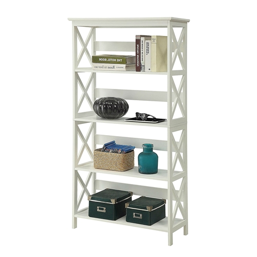 This Glossy White 5-Shelf Bookcase is a great addition to any home office. Featuring 5 spacious shelves that allow plenty of space for everything from books to collectibles. The Glossy White 5-Shelf Bookcase easily fit with most decor so you can enjoy it for years to come. Coordinating pieces are also available sold separately.