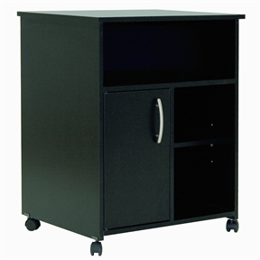 This Eco-Friendly Black Printer Stand Cart offers open and closed storage spaces, for a tidy home office. Both attractive and functional, it brings a clean contemporary style and comes with metal knobs in a Silver finish. In addition, it can be placed and moved everywhere in the room, thanks to its casters with brakes. It features 3 open storage spaces, one large and two smaller ones on the side separated by an adjustable shelf and behind the door, 2 closed storage spaces, separated by an adjustable shelf that can support a weight up to 15 pounds. Pair it with a desk and bookcase to complete your home office. It is also available in Pure White, Chocolate or Royal Cherry finish. It measures 23-1/2-inch wide by 19-1/2-inch deep by 29-1/2-inch high. It is delivered in a box measuring 32-1/2-inch by 20-3/4-inch by 5-1/4-inch and weighing 52 pounds. The back surface is not laminated.