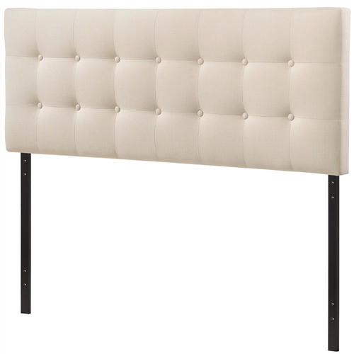 "Add elegance to your bedroom with this Full-size Ivory Fabric Upholstered Button-Tufted Headboard. Designed with just the right amount of grace, Emily is made from fiberboard, plywood, and fine polyester upholstering for a construction that is both lightweight and long-lasting. Perfect for contemporary and modern bedrooms, sleep soundly with a piece that imparts a sense of tranquility amidst an impressive backdrop of style. Fits full-size beds. Set Includes: One - Full Headboard Product Dimensions: Overall Product Dimensions: 3.5""L x 56""W x 45 - 52.5""H . Fine polyester upholstering; Fiberboard and plywood frame."