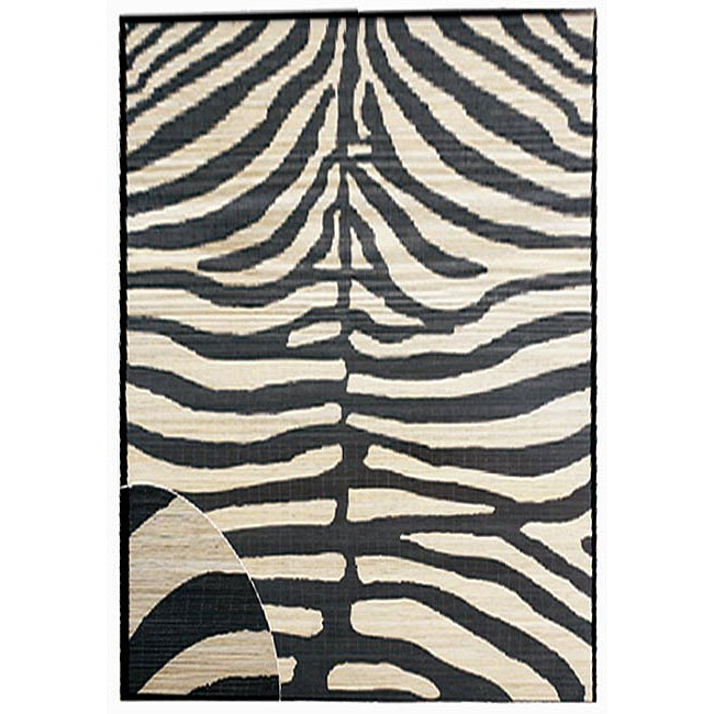 Zebra Hand-Woven bamboo Area Rug (5' x 8'), HWZBR848545 : This Zebra Hand-Woven bamboo Area Rug (5' x 8') is hand-woven together for a fashionable look. Also, the Bamboo strips are hand-woven together for a fashionable look. Skid resistant backing; Rug features zebra stripes in black and ivory; Primary Color: ivory; Pattern: Animal.