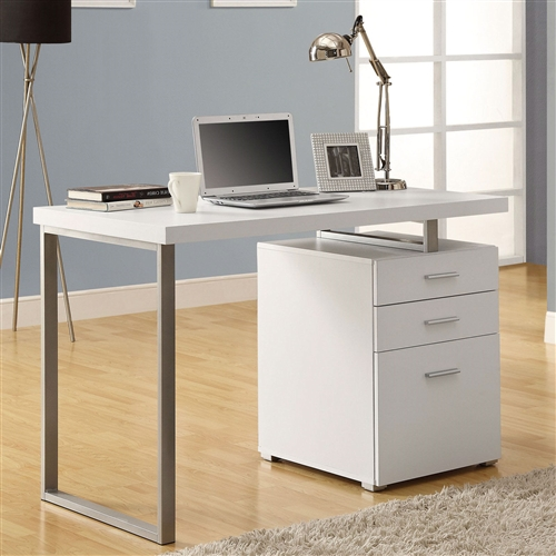 This Left or Right Facing Modern Office Desk in White Finish with File Drawers is simple and sleek with accents of steel in its frame. It features roomy side cabinets and a 47.5 inch desktop. Spacious desktop with ample storage for office supplies; Assembly Required; Desktop Material Laminate; Material Metal, Laminate; Shape Rectangular; Special Features File Drawers; Style Modern, Corner Writing Desks.