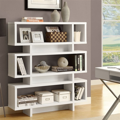 This White Modern Bookcase Bookshelf for Living Room Office or Bedroom has a unique open design. Great for the living room or bedroom to store books and display your favorite sentimental pieces. Ample room for displaying pictures and decorative pieces; Application Residential; Assembly Required; Features Open Back Bookcases; Finish White; Material Laminate; Style Modern.
