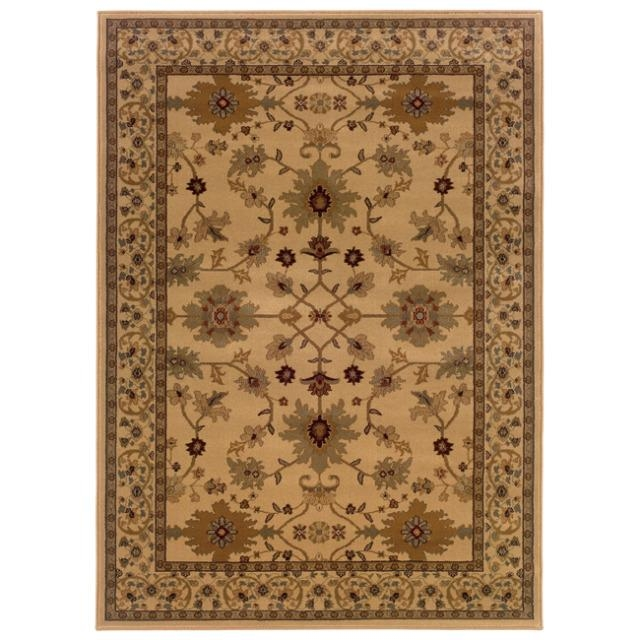 Indoor Beige Oriental Area Rug (8'2 x 10'), IBOAR82X10 :  An intricate Oriental print accentuates this Indoor Beige Oriental Area Rug (8'2 x 10'). This rug features a durable stain-resistant polypropylene construction in shades of beige, green, gold and brown. All rug sizes are approximate. Due to the difference of monitor colors, some rug colors may vary slightly. We try to represent all rug colors accurately. Please refer to the text above for a description of the colors shown in the photo. Tip: We recommend the use of a non-skid pad to keep the rug in place on smooth surfaces. Primary materials: Polypropylene; Pile height: 0.393 inches.