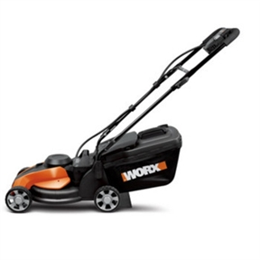 24 Volt WORX 14-inch Cordless Electric Lawn Mower- 40 mins per charge, W14I24V :  This 24 Volt WORX 14-inch Cordless Electric Lawn Mower- 40 mins per charge is equipped with patented IntelliCut technology, which ensures that power is there when you need it. No more bogging down in tough conditions when mowing tall grass or mulching leaves. Simply set the dial to Power when cutting through the tough stuff, and switch the dial to Quiet when mowing in normal conditions. Now you can mow the lawn at almost any time of day without irritating the neighbors or disturbing your children's naps, yet still have access to a powerful chopping mower when facing high or thicker grasses. IntelliCut mowing technology adds torque when you're cutting tough grass; Special mulching blade chops up clippings better than standard blades; 3-in-1 cutting for mulching, bagging, or rear discharge; Push-button starting; Cuts up to 10,000 square feet on a single charge (up to 40 minutes of runtime).