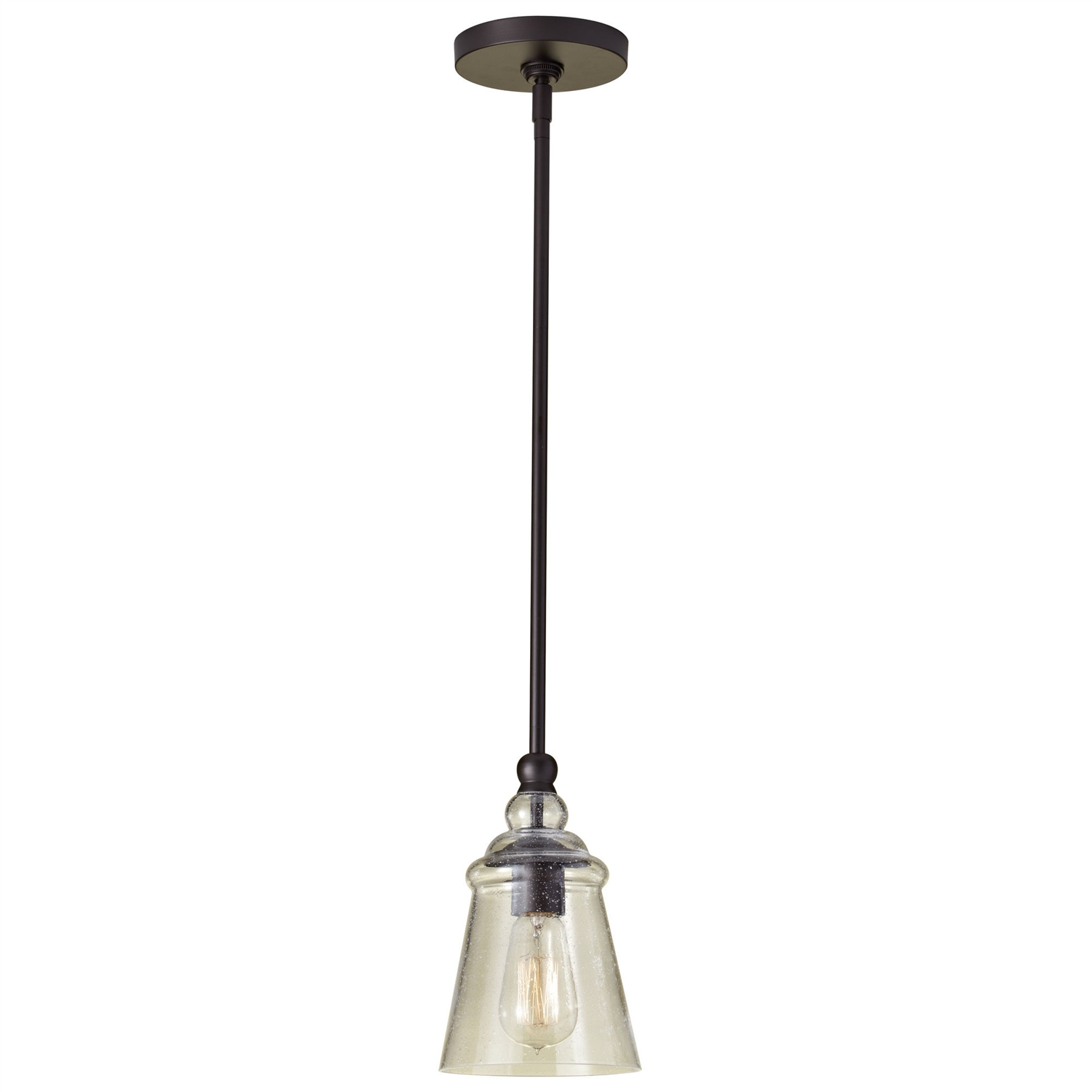 This Contemporary 1-Light Ceiling Pendant in Rubbed Bronze Finish would be a great addition to your home. It has a oil rubbed bronze finish and is a mini pendant fixture type. Swarovski Crystal: No; Lens Included: No; Swag Light: No; Bulb Included: No; Adjustable: Yes; Product Care: Wipe clean with a damp cloth;  Country of Manufacture: China; Assembly Required: Yes; Product Warranty: 1 Year.