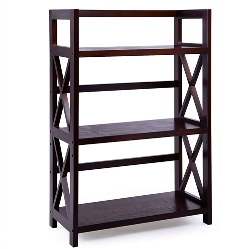 This Solid Wood 3-Shelf Bookcase in Dark Brown Finish with an elegant brown color is a great addition to any home, office, dormitory, etc. It is very easy to put together, and is supplied with an Allen wrench which is the only tool needed. Each shelf can hold 20lbs weight and can really helped cut down on the clutter of papers and books that litter your home. It also fits all office things for a nice clean minimalist look. Made of durable and sturdy pine wood with brown color, this solid vertical ladder-style bookcase matches well with your furniture and is a perfect solution to your book storage need; 3 SHELVES WITH 4 HEIGHTS – 3 wide rectangular shelves, 4 extra predrilled holes; You can adjust the height of the shelf according to your height need; 3 rod back fences, 4 X-shaped side barricades; It is not only a bookcase, but can hold potted plant, shoes, clothes, printer, rolled towels, microwave, record, collectibles in space-limited home, dormitory, office, etc.