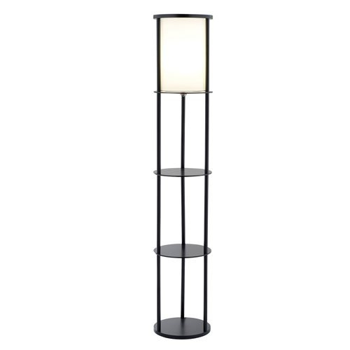 Modern Asian Style Round Shelf Floor Lamp in Black with White Shade, ASFL59271 :  This Modern Asian Style Round Shelf Floor Famp in Black with White Shade has a collapsible white poly/cotton shade that sits atop an MDF disk. Two additional disk shelves are available for storage or display, as is the base. It features a ball-accented on/off pull chain switch. 150-watt floor lamp; 15-1/2-inch clearance between shelves; White poly/cotton shade.