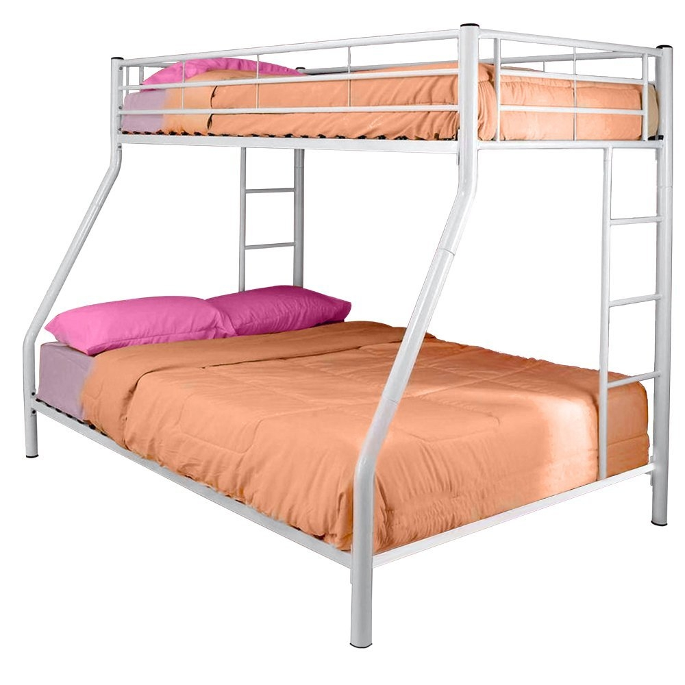 White Metal Twin over Full Bunk Bed, WETOFB1991 :  Elegance and function combine to give this White Metal Twin over Full Bunk Bed a striking appearance. The design gives a stylish modern look crafted with durable steel framing. Designed with safety in mind, the bed includes full length guardrails and a sturdy integrated ladder. Great for any space-saving design needs. Mattresses and bedding NOT included!  The design gives a stylish modern look crafted with durable steel framing. Designed with safety in mind, the bed includes full length guardrails and a sturdy integrated ladder. Modern twin-over-full bunk bed works well in kids' room or guest room. Tubular steel framing with lead-free powder-coated finish. Available in black or white. Clean geometric design with 2 integrated ladders and full-length guardrails.