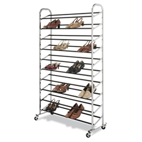 50 Pair Shoe Rack Tower in Chrome - Wheels Included, WCS50PSR6018 :  This 50 Pair Shoe Rack Tower in Chrome - Wheels Included is the answer to your shoe storage needs. It is easy to assemble and is made of durable chromed metal. It boast 10 tiers of non-slip tubes to hold your shoes and has durable wheels for easy mobility or the bottom rack sits flat on the floor for a stationary unit. No-tool assembly.