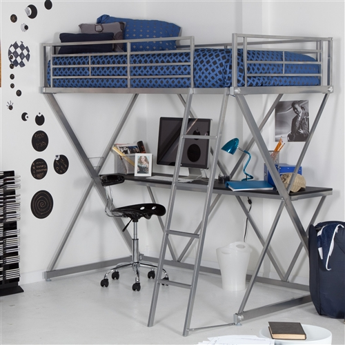 Your kid will be living in the future when you add this Modern Bunk Bed style Twin Loft Bed with Desk in Silver Metal Finish to his or her room. The bed is large and comfortable for a good night's sleep, and the tough metal frame gives it a sturdy base for safety and stability. This futuristic bed is raised high off the floor to allow space for a work desk or play area underneath. Guard rails are fixed firmly to the sides to prevent falls.