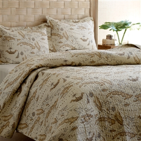 This King size 100% Cotton Caribbean Map Reversible Quilt Set would be a great addition to your home. It is reversible and is made of 100% cotton material. Add the extra layer in the cool weather or use alone during the warmer months; Machine washable; Color: Khaki with Map print; Product Type: Quilt/Coverlet set; Color: Beige; Pattern: Nautical; Material: Cotton; Shams Included: Yes; Number of Shams Included: 2; Cleaning Method: Machine washable; Country of Manufacture: China.