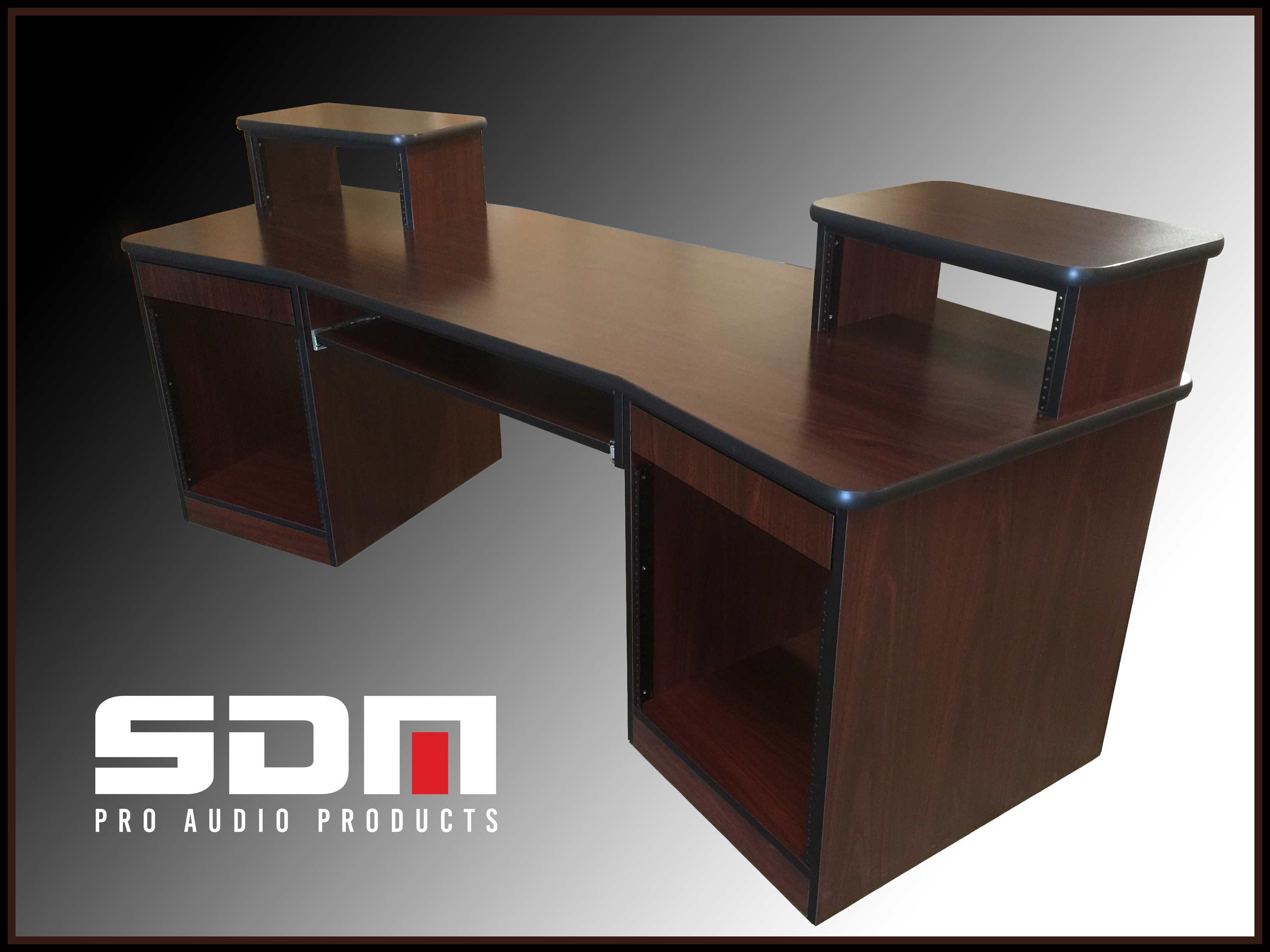 PRODUCER DESK - African Walnut Cabinetry- Black Edge - Commercial Grade Laminate Top