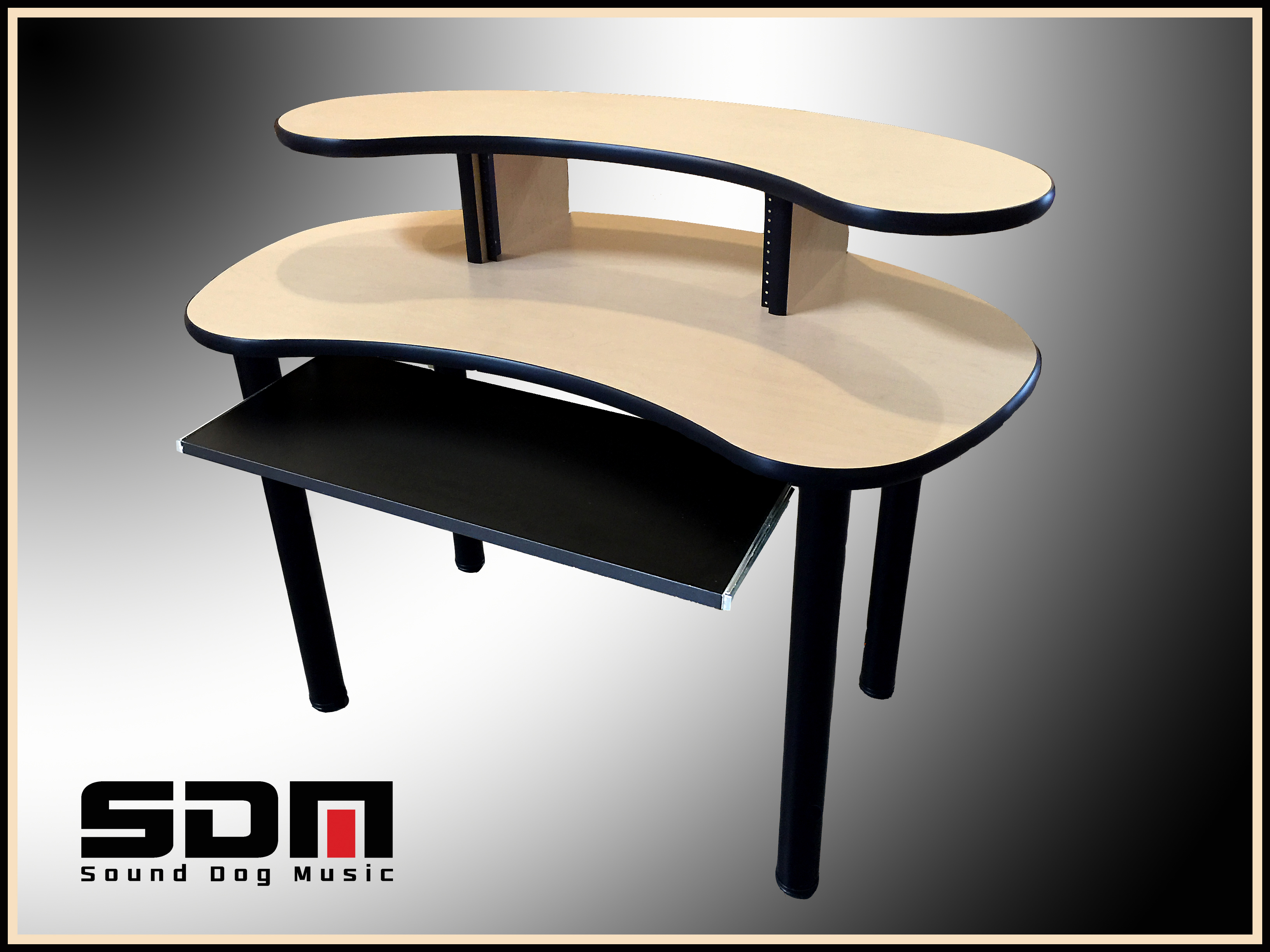 Compact Recording Studio Desk - Maple - Black Edge -$460