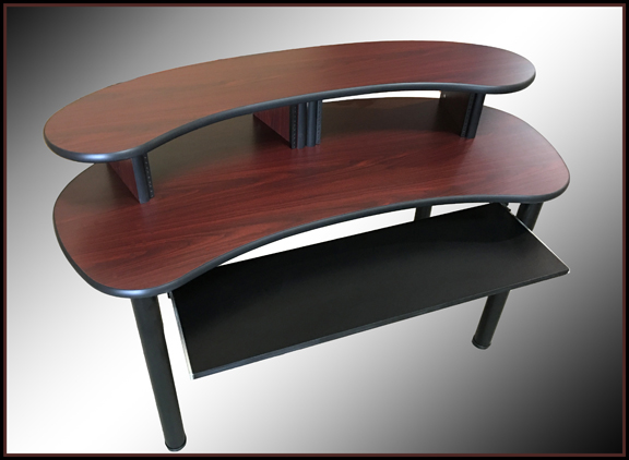 Compact XL Recording Studio Desk - African Walnut - Black Edge -$595