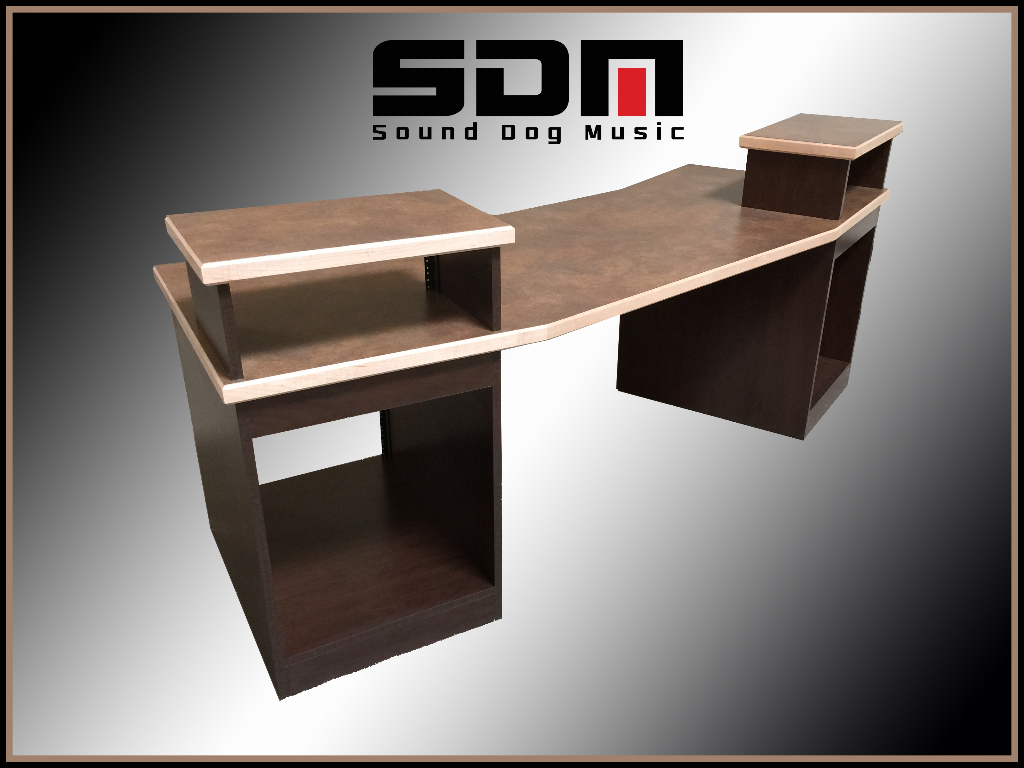 PRODUCER DESK - Chocolate Pear Cabinetry - Solid Maple Edge - Commercial Grade Laminate Top