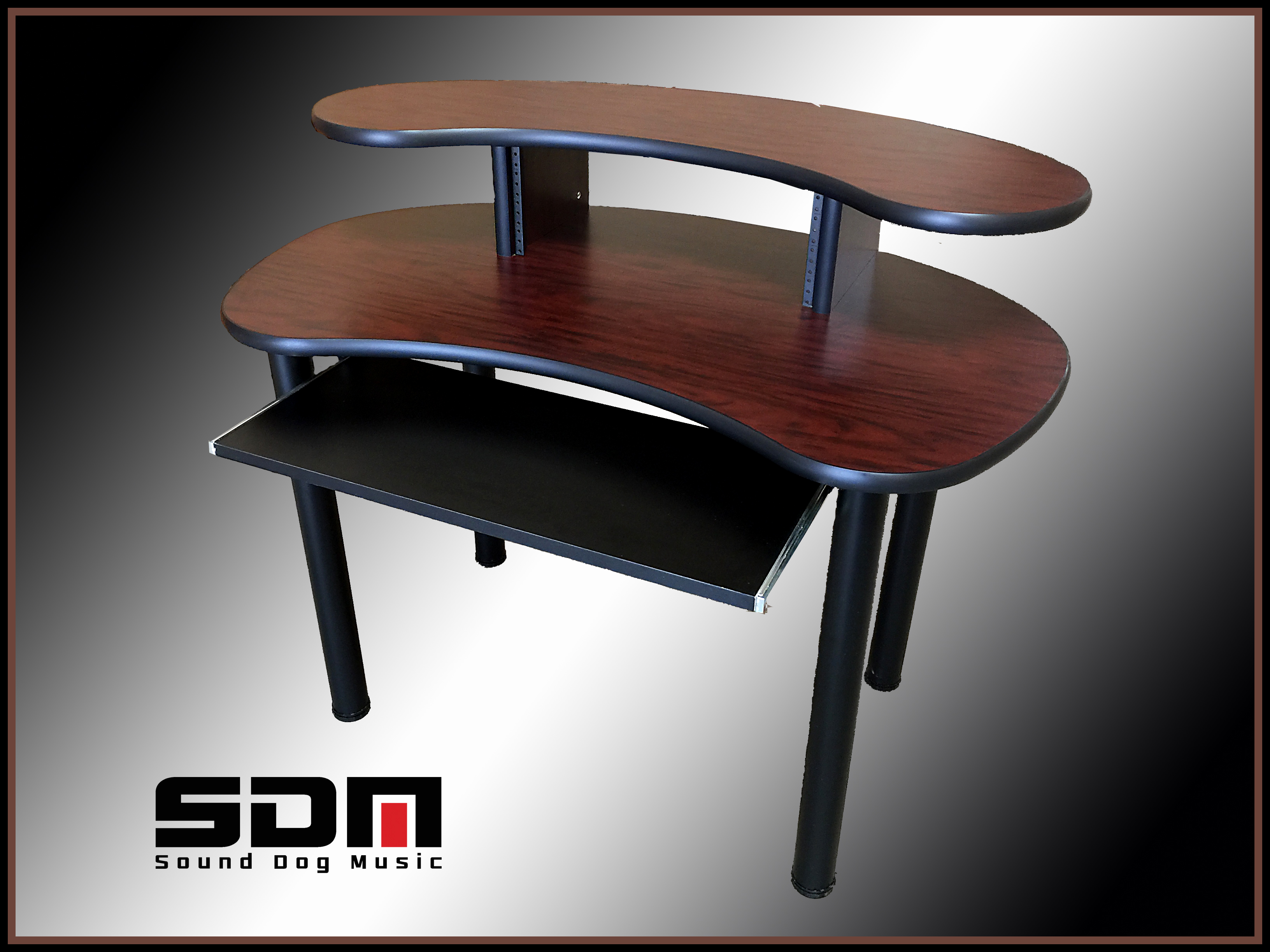 Compact Recording Studio Desk - African Walnut - Black Edge -$460