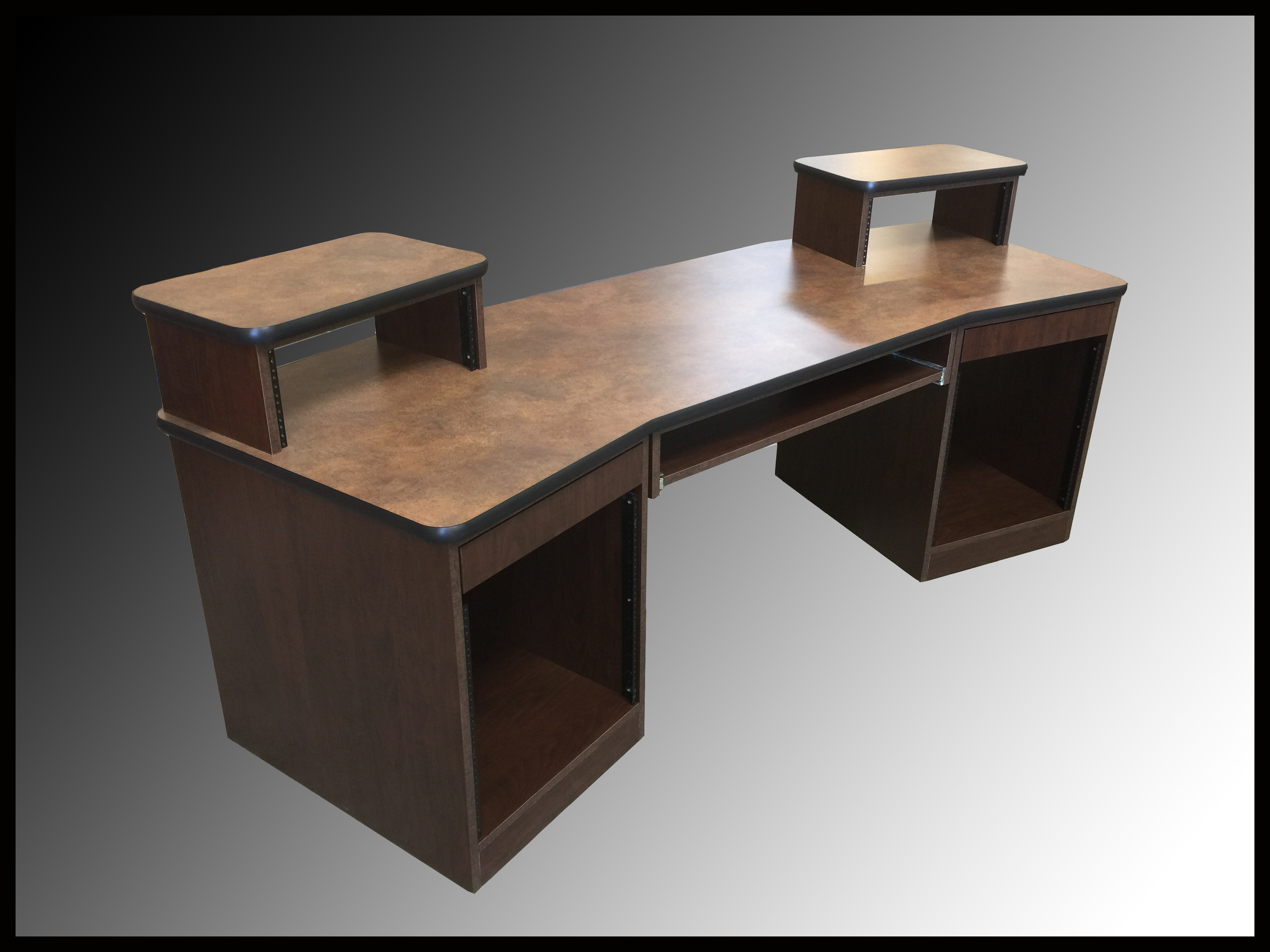PRODUCER DESK - Chocolate Pearwood Cabinetry - Black Edge - Commercial Grade Laminate Top