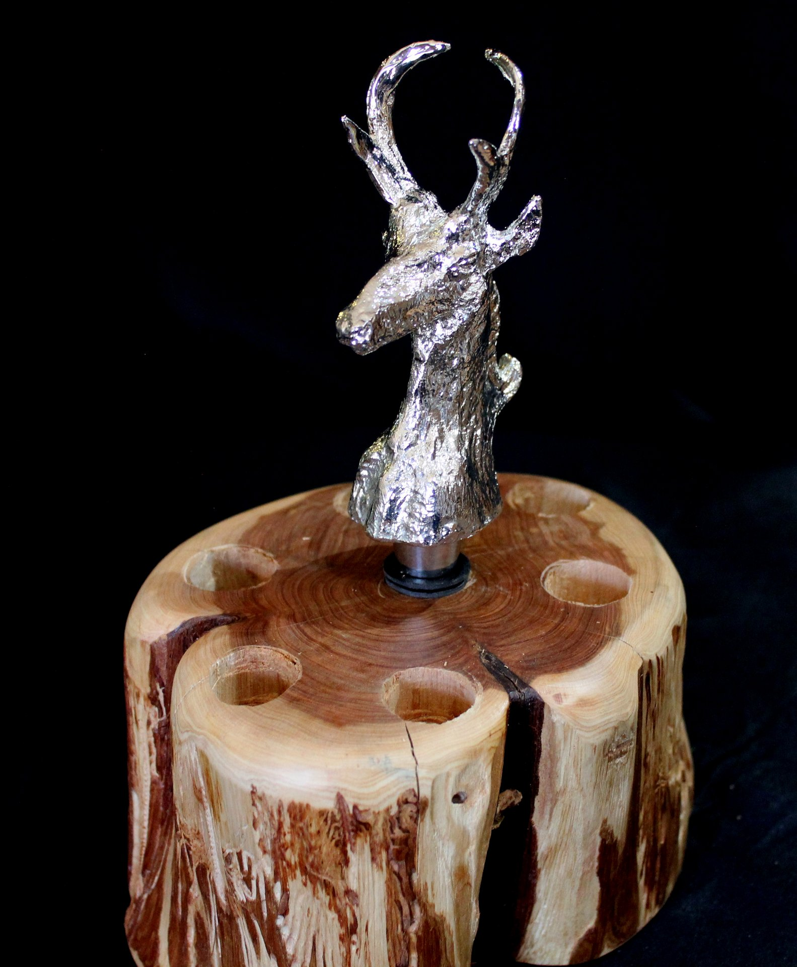 Wine Bottle Stopper ANTELOPE (Shiny Silver Patina)