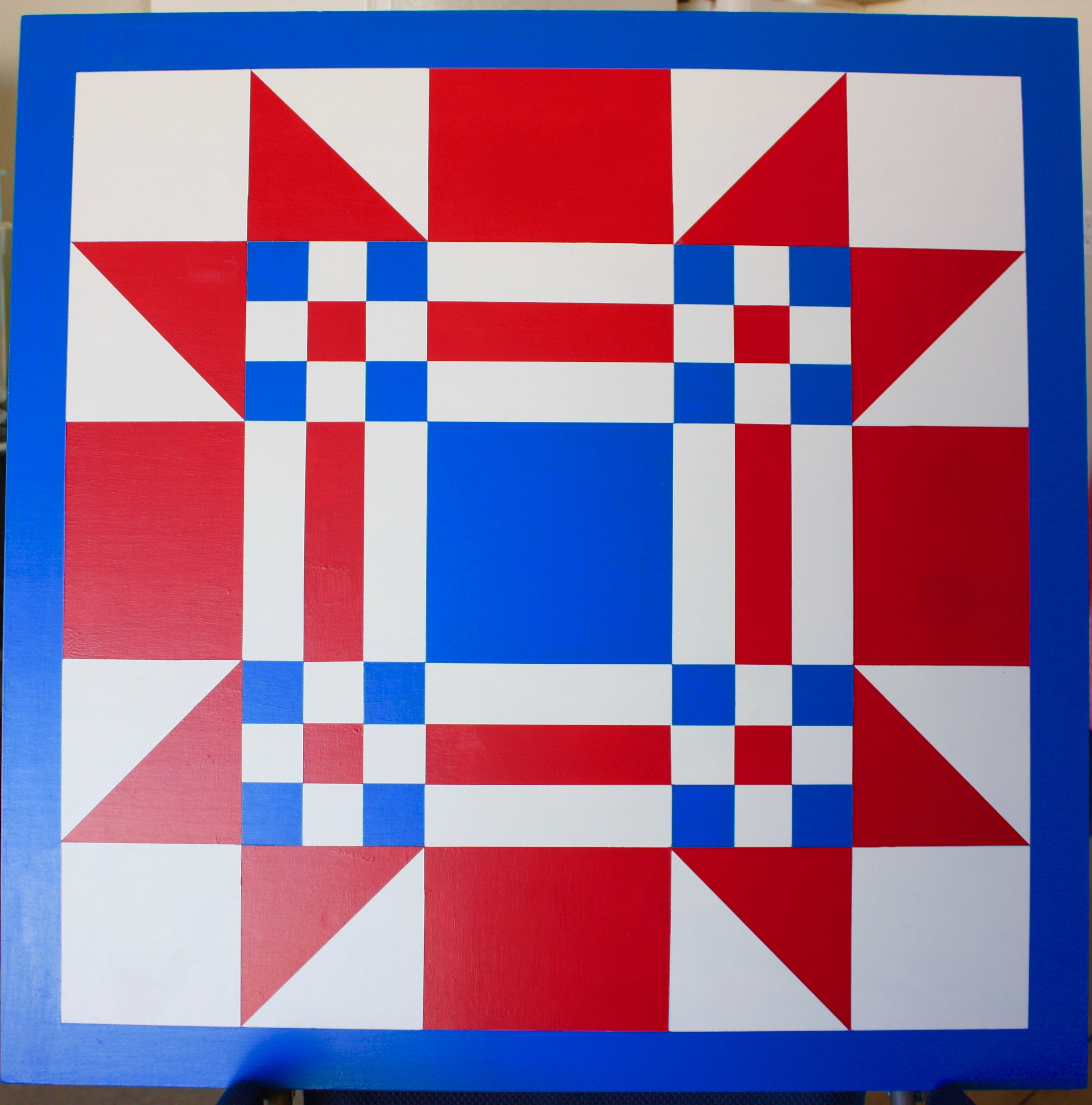 Red White & Blue Wooden Quilt