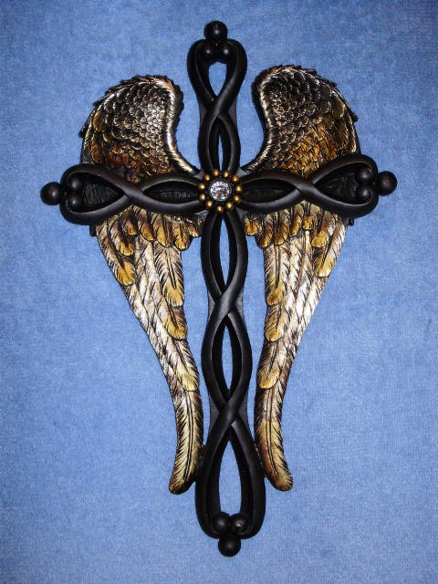 Black with Gold Wings Wall Cross