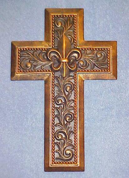 Wall Hanging Cross Decor - Fleur de Lis - Leaf & Scroll Pattern - Copper Color