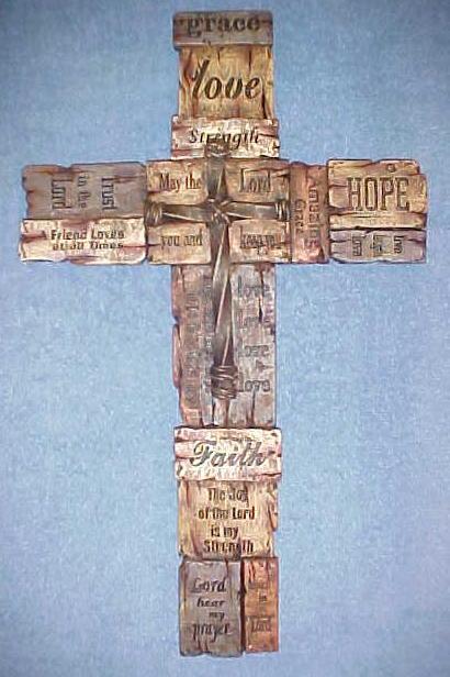 Wall Hanging Cross - Faith, Hope, Love