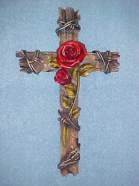 Rose Cross Wall Hanging Decor, Old Barn Wood Look