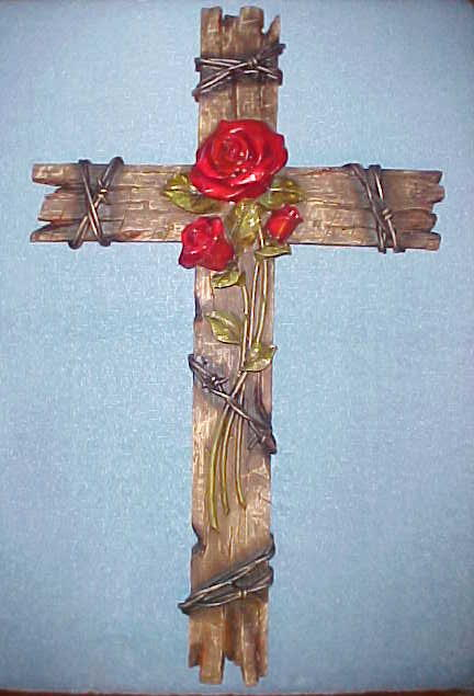Rose Cross Wall Hanging Decor